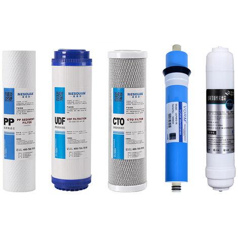 """main image of """"Filtros de agua de repuesto de membrana de algodon PP + UDF + CTO + T33 + 75GPD RO (5 piezas)"""""""