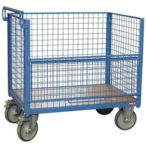 Fimm - Chariot conteneur grillagé charge 500 kg 1200 x 800 mm (640 L) sans toit