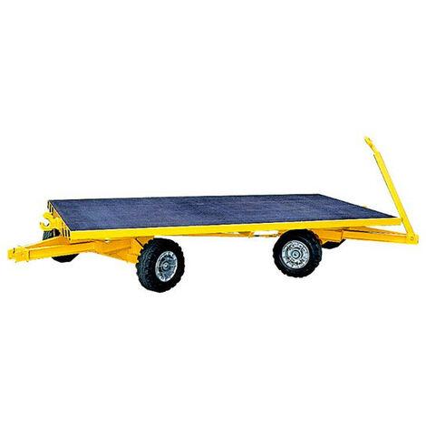 Fimm - Remorque industrielle sur couronne à billes 2 T 2 essieux directeurs sur roues en caoutchouc