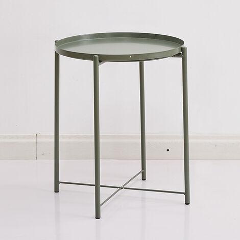"main image of ""Fin mesa redonda decoracion casera moderna de metal antideslizante robusta mesa lateral Cafe Te Tabla Mesilla de noche, al aire libre para la cubierta, blanco"""