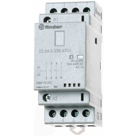 FINDER 20 Installationsschütz 25A 250-440V/AC 230V/UC 4S 223402301320