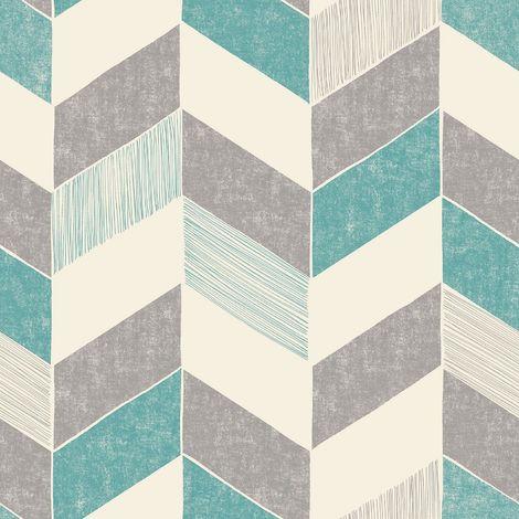 Fine Decor Astrid Teal Geometric Wallpaper White Chevron Zig Zag Paste The Wall