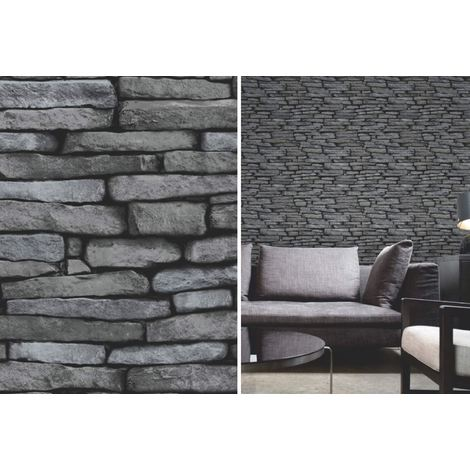 Fine Decor Black and Silver Slate Stone Effect Brick Wall Wallpaper