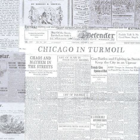 Fine Decor Black & White Newspaper Print Wallpaper