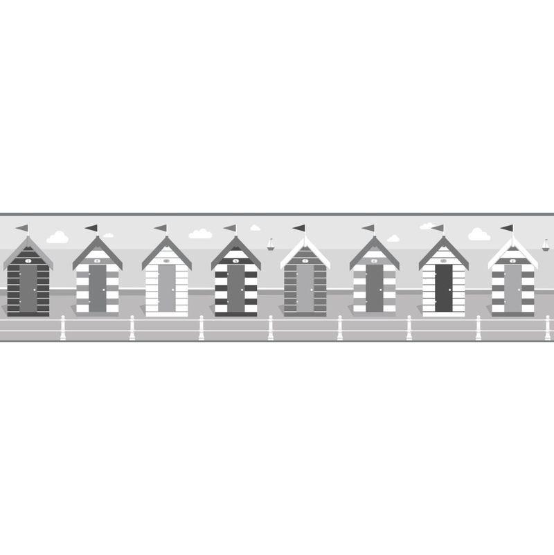 Fine Decor Black White Silver Seaside Hut Beach Wallpaper Border Self Adhesive
