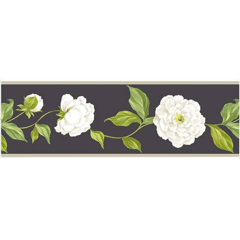 Fine Decor Camelia Floral Black Wallpaper Border