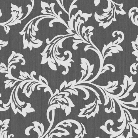 Fine Decor Cavendish Floral Black / Silver Wallpaper