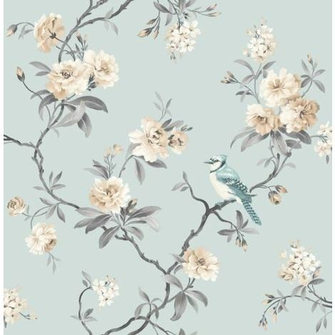 Fine Decor Chinoiserie Floral Flower Bird Blue/Teal Heavyweight Wallpaper