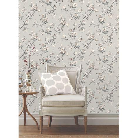 Chinoiserie Bird Wallpaper Grey Fd40764 Dec057