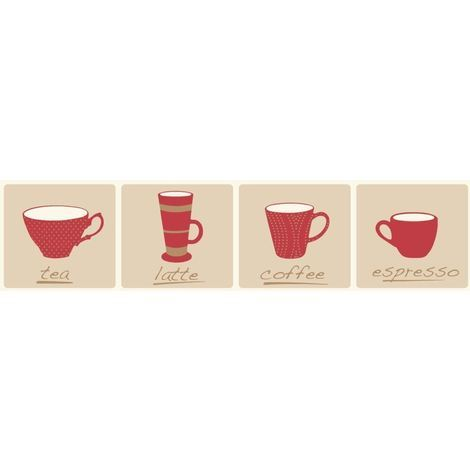 Fine Decor Cream Red Coffee Tea Mug Cup Wallpaper Border Self Adhesive