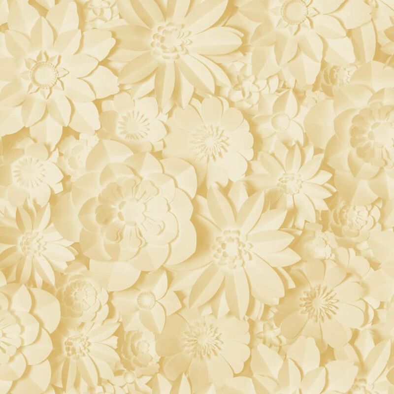 Image of 3D Effect Floral Wallpaper Flowers Yellow Mustard Washable Dimensions - Fine Decor