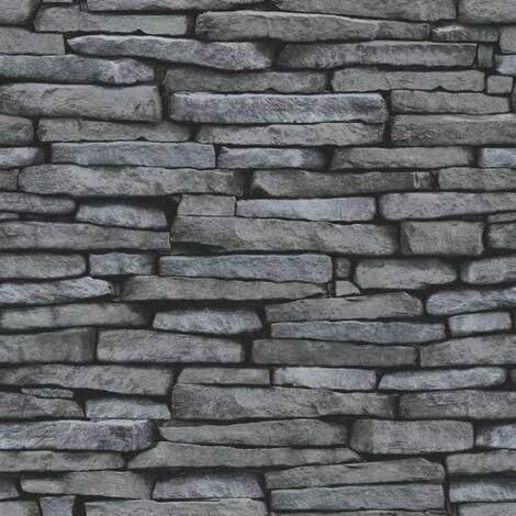 Fine Decor - Distinctive Brick / Stone Wallpaper - Grey / Charcoal - FD31291