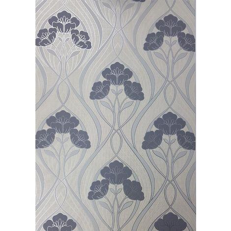 Fine Decor Evelyn Floral Dark Grey Wallpaper Metallic Silver Cream Flowers Vinyl