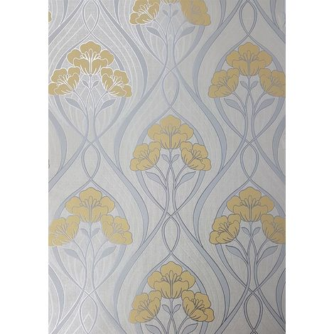 Fine Decor Evelyn Floral Yellow Wallpaper