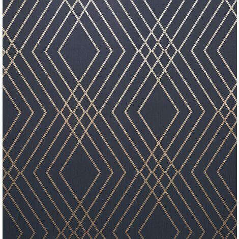 Fine Décor FD42605 Shard Trellis Navy/Gold Wallpaper…