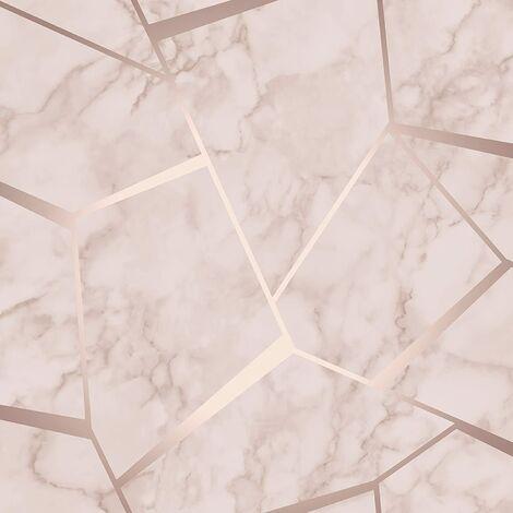 "main image of ""Fine Decor Fractal Geometric Marble Wallpaper Rose Gold FD42264"""