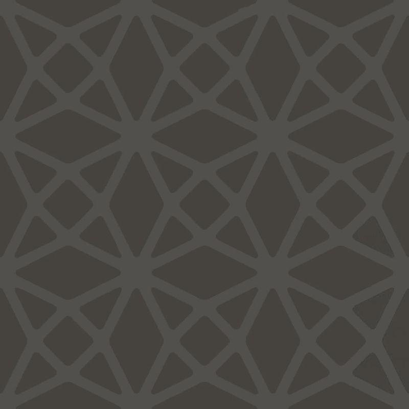Image of Geometric Lattice Diamonds Wallpaper Charcoal Silver Metallic Paste Wall