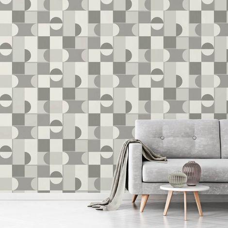 Fine Decor Geometric Mono Grey Silver Metallic Shimmer Retro Wallpaper