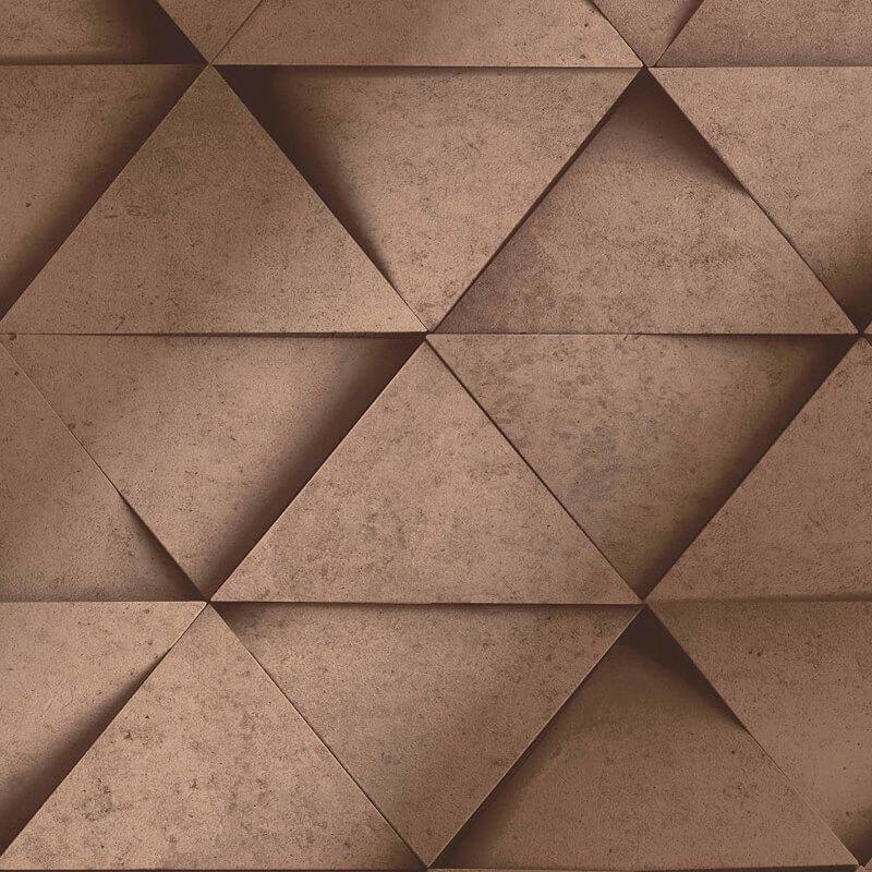 Image of 3D Effect Geometric Triangle Copper Metallic Wallpaper Abstract - Fine Decor