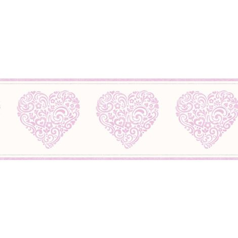 Fine Decor Girls Cream Metallic Pink Floral Love Heart Modern Wallpaper Border