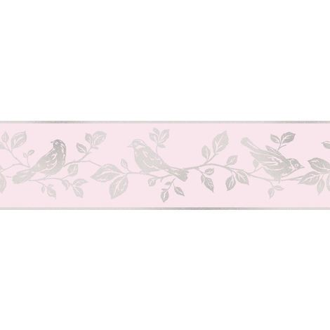 Fine Decor Glitz Glitter Leaf And Birds Pink And Silver Sparkle Border