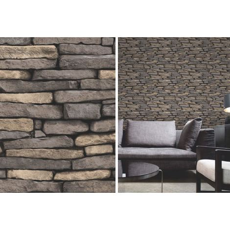 Fine Decor Grey Natural Weathered Slate Brick Stone Wall Feature Wallpaper
