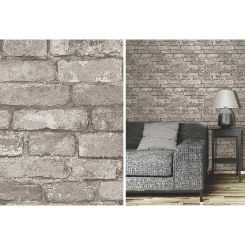 Charcoal Rustic Brick Effect Wallpaper Silver Grey Feature Wall Fine Decor