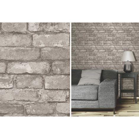 Fine Decor Grey Rustic Brick Effect Photographic Wall Feature Wallpaper