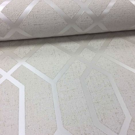 Fine Decor Heavyweight Blown Vinyl Wallpaper Quartz Trellis Gold FD42305