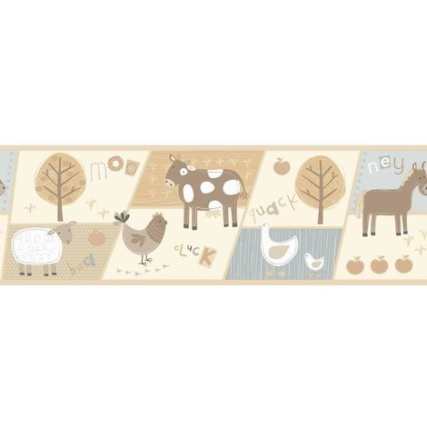 Fine Decor Hoopla Farm Animals Cream/ Blue Wallpaper Border