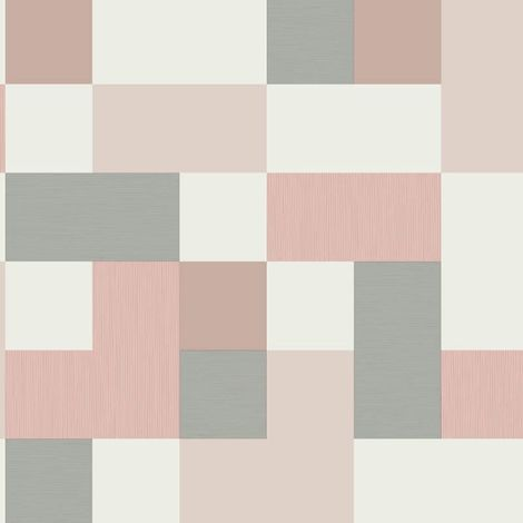 Fine Decor Idaho Geometric Blush Pink Grey Metallic Shimmer Retro Wallpaper