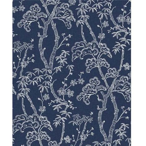 Fine Decor Indigo Blue Bonsai Trees Floral Textured Wallpaper Paste Wall Vinyl