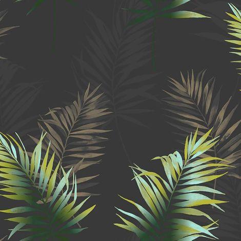 Fine Décor Kalani Black & Green Palm leaf Wallpaper