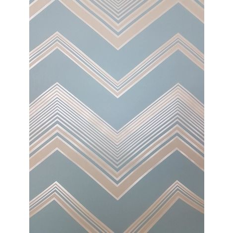 Fine Decor Light Blue Zig Zag Chevron Wallpaper