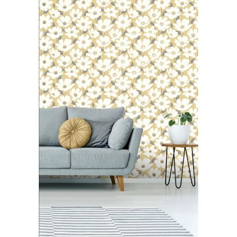 Fine Decor Mia Floral Wallpaper Yellow Silver White Metallic Flowers Shimmer