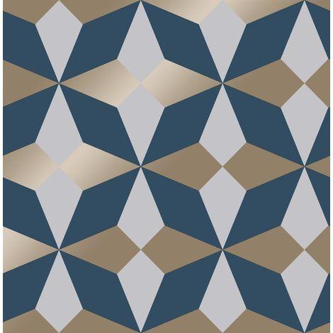 Fine Decor Nova Geometric Wallpaper Blue White Silver Metallic Shimmer Modern