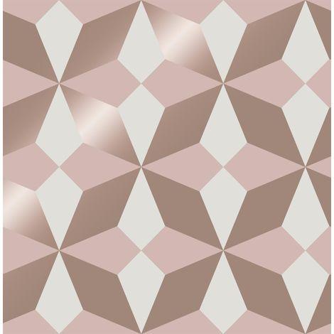 Fine Decor Nova Geometric Wallpaper Pink White Rose Gold Metallic Shimmer Modern