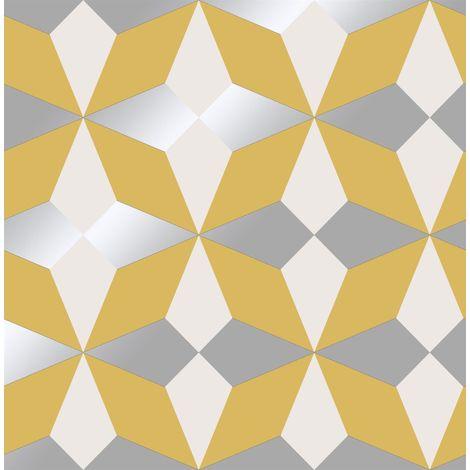 Fine Decor Nova Geometric Wallpaper Yellow White Silver Metallic Shimmer Modern