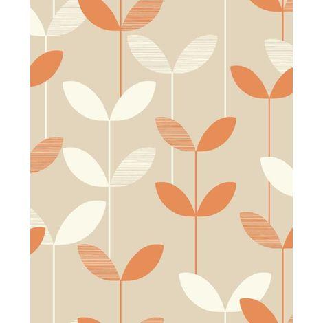 Fine Decor Orange Leaf Wallpaper