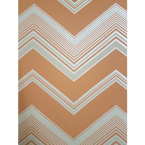 Fine Decor Orange Zig Zag Chevron Wallpaper