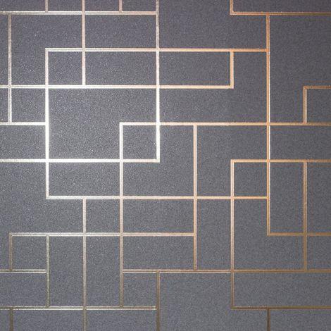 Fine Decor Platinum Rose Gold Geometric Wallpaper