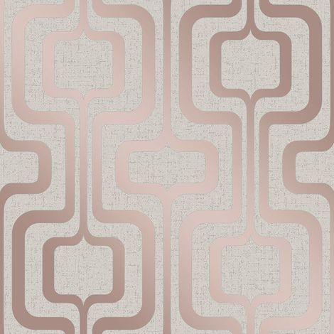 Fine Decor Quartz Metallic Rose Gold Cream Glitter Textured Vinyl Wallpaper