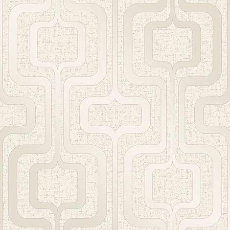 Fine Decor Quartz Retro Metallic Gold Cream Glitter Textured Vinyl Wallpaper