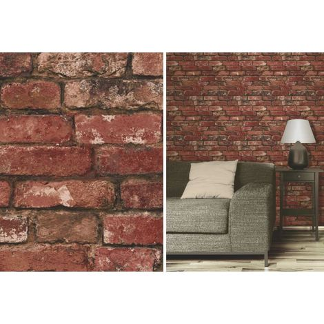 Fine Decor Red Rustic Brick Effect Feature Wallpaper