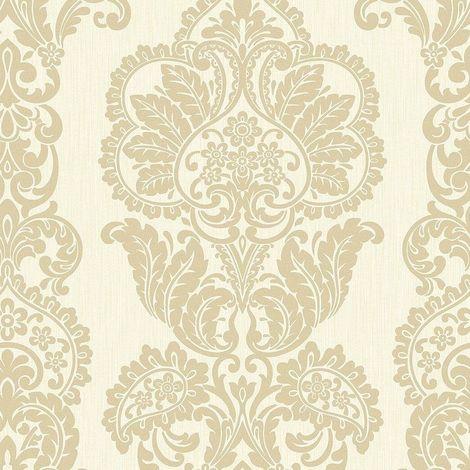 Fine Decor Rochester Damask Tattoo Cream Gold Glitter shimmer Wallpaper