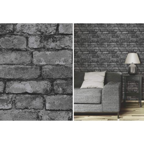 Fine Decor Rustic Brick Effect Charcoal Silver Grey Feature Wallpaper