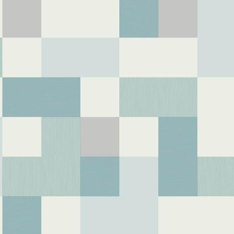 Fine Decor Square Geometric Mint Aqua Grey Metallic Shimmer Retro Wallpaper
