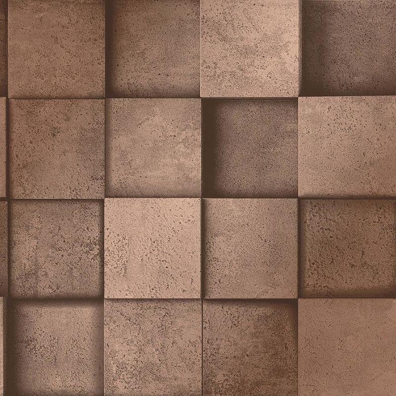 Image of 3D Effect Square Stone Brick Copper Metallic Wallpaper Dimensions - Fine Decor