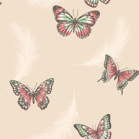 Fine Decor Wallpaper Butterflies Cream FD40918