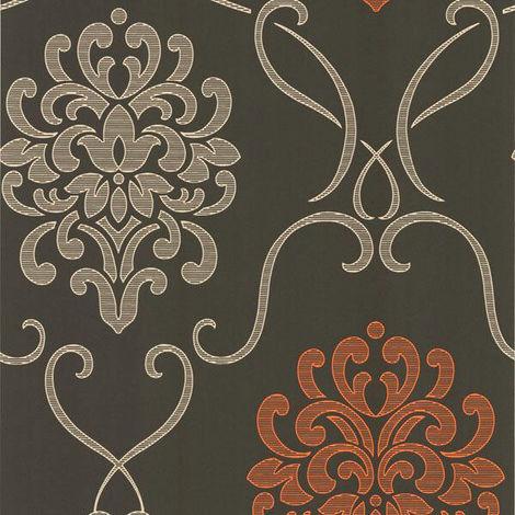 Fine Decor Wallpaper Damask Brown/Orange DL30445